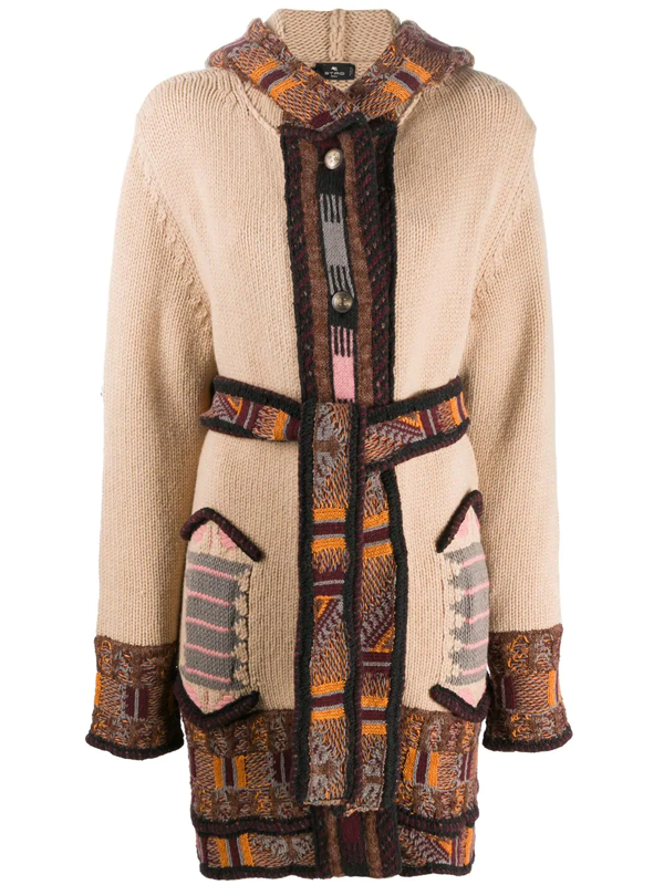 Etro Intarsia-knit Hooded Cardi-coat In Neutrals