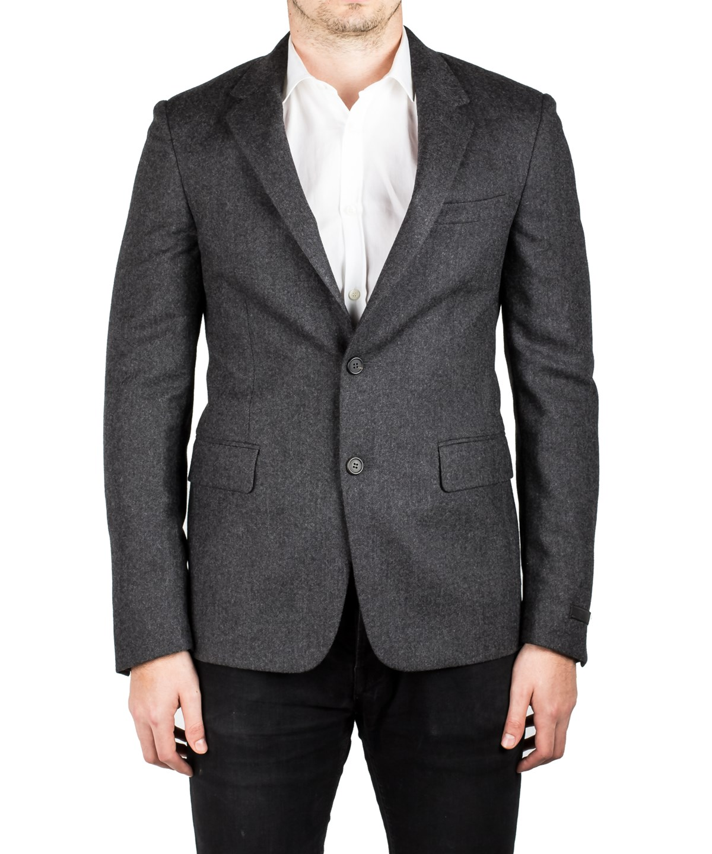 Prada Men's Virgin Wool Silk Two-Button Sport Coat Jacket Black Polka Dotted In Grey