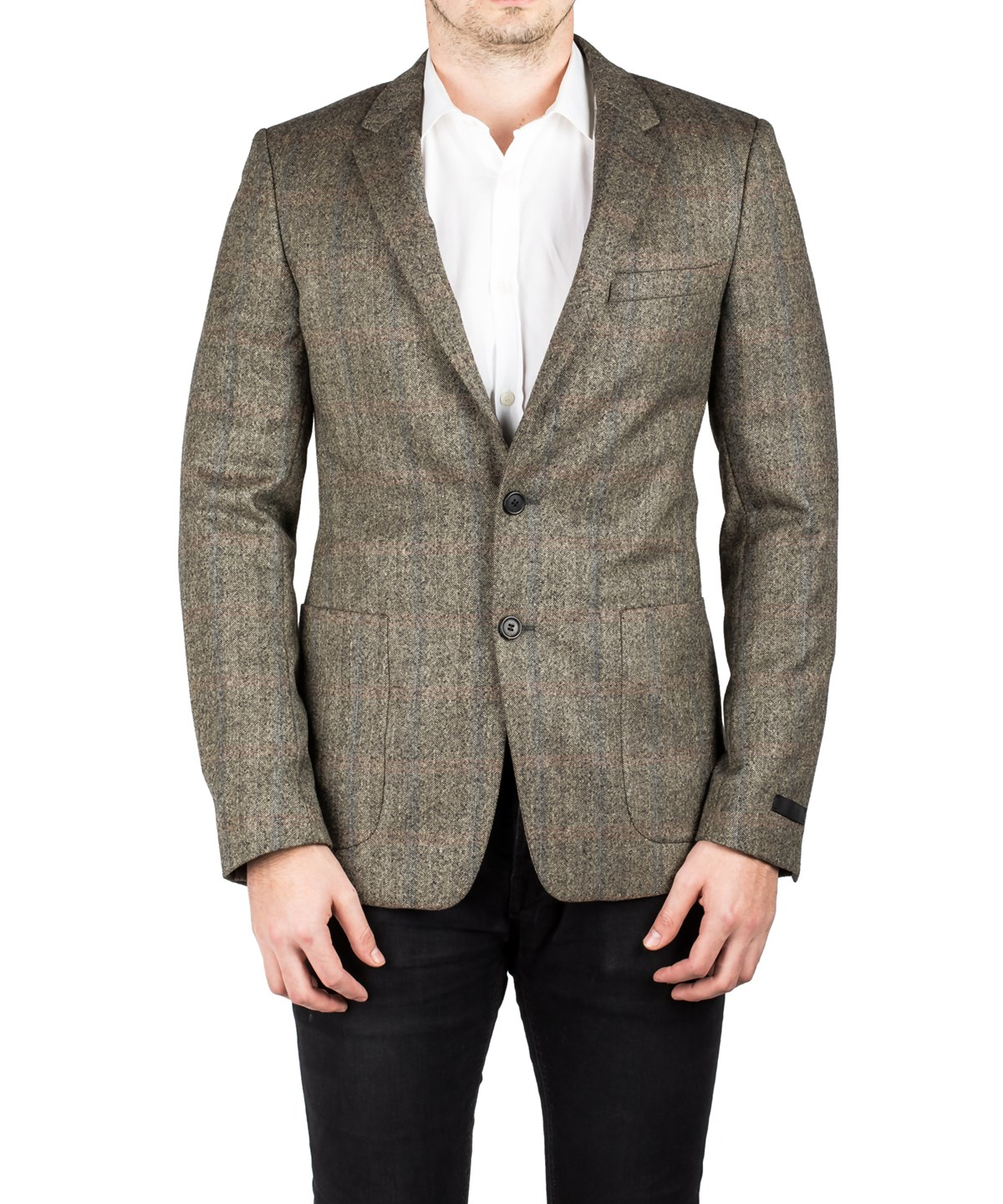 Prada Men's Notched Lapel Virgin Wool Sport Jacket Coat Blazer Plaid Stone Grey In Brown