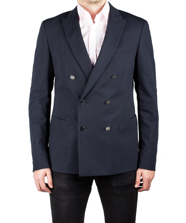 Prada Men's Double Breasted Peak Lapel Suit Sport Jacket Coat Blazer Navy Blue