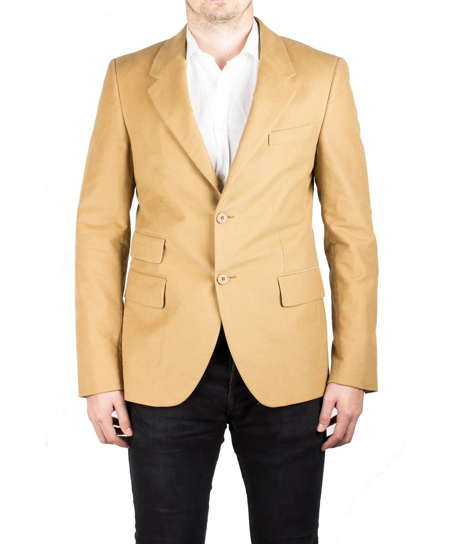 Prada Men's Notched Lapel Cotton Viscose Sport Jacket Coat Blazer Camel Mustard In Brown