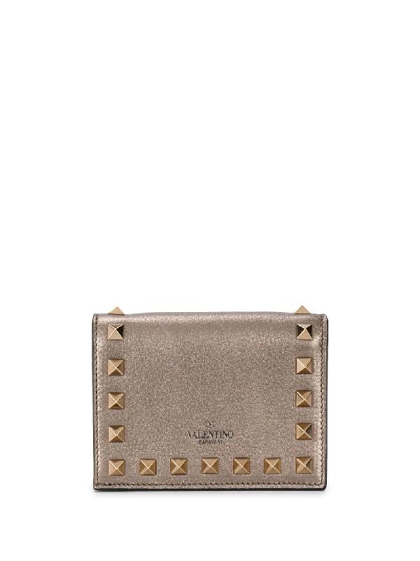 Valentino Garavani Rockstud Leather Flap Wallet In Gold