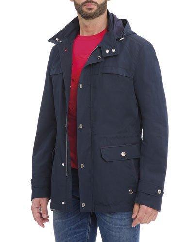Stefano Ricci Hooded Wool-Silk Parka Jacket, Navy