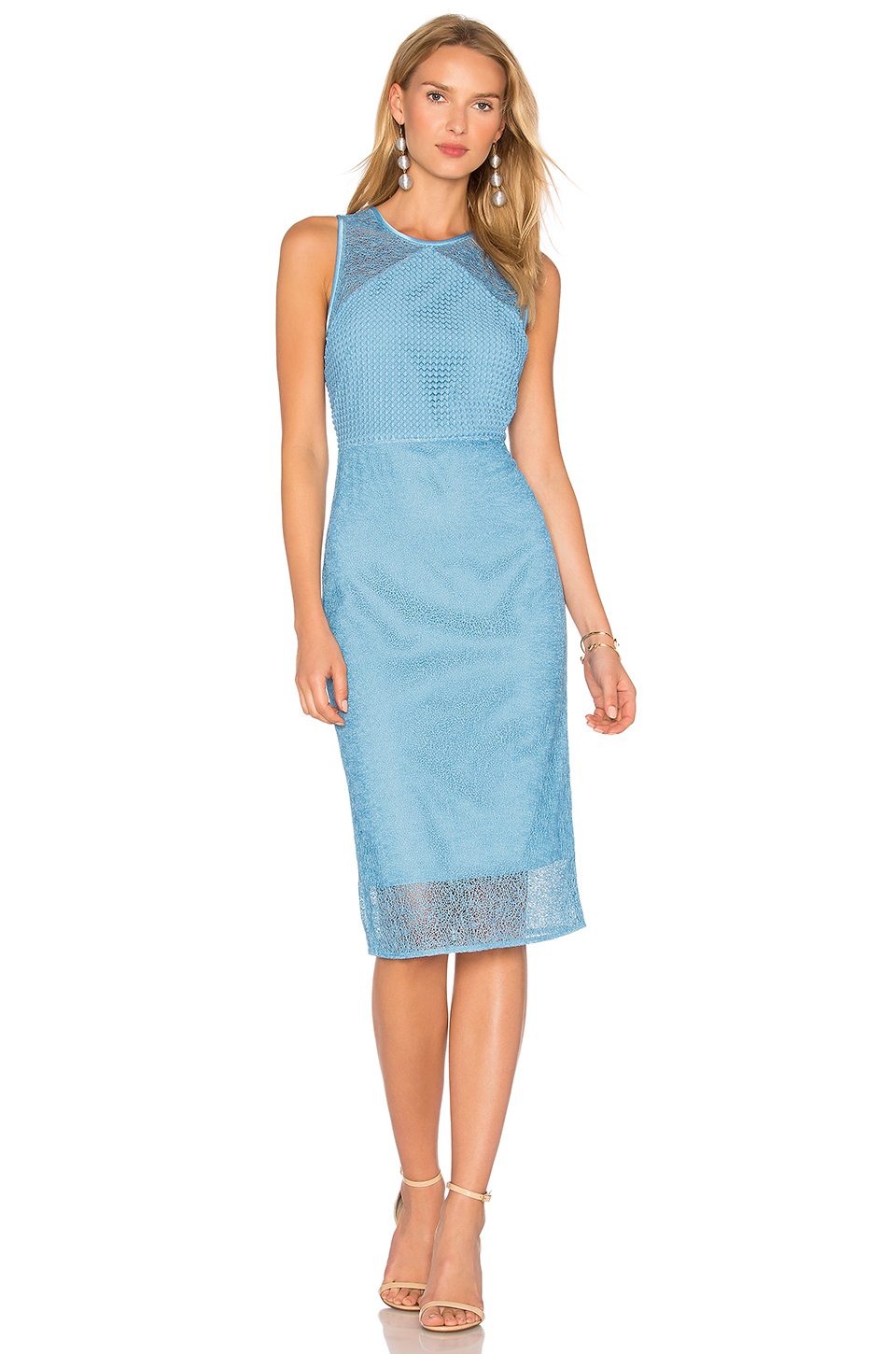 Diane Von Furstenberg Sleeveless Lace Dress In Blue