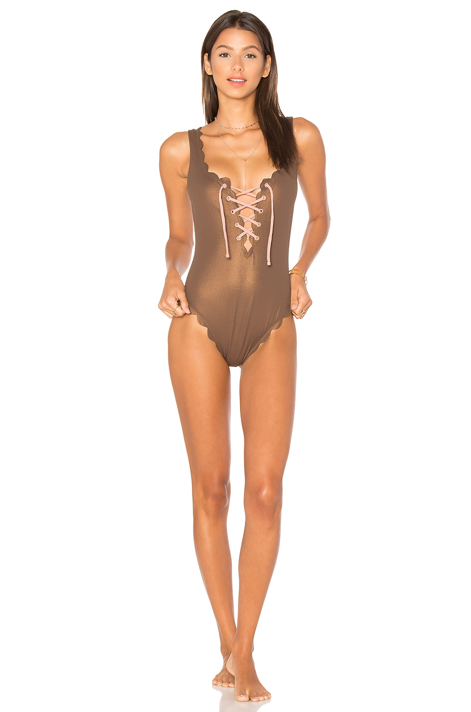 Marysia Palm Springs Tie One Piece In Metallic Brown
