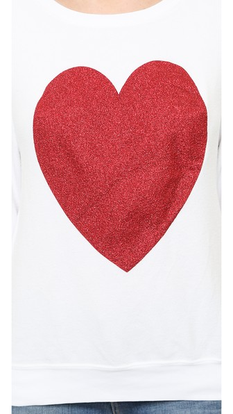 Wildfox Sparkle Heart Baggy Beach Pullover In Clean White