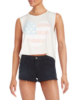 Wildfox Sunbleached Flag Graphic Cropped Chad Tank In Vintage Lace