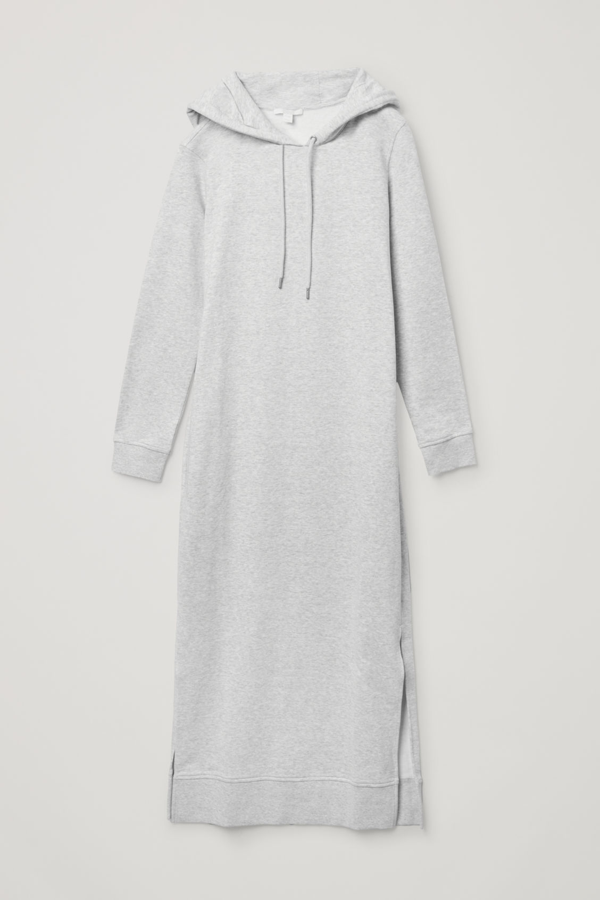 Cos Hooded Sweatshirt Dress In Grey