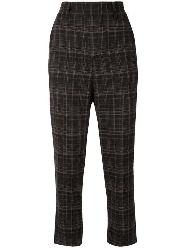Vince Brown Plaid Straight-leg Trousers In Black