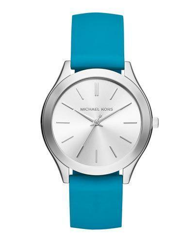 Michael Michael Kors 42Mm Slim Runway Watch W/ Silicone Strap, Blue