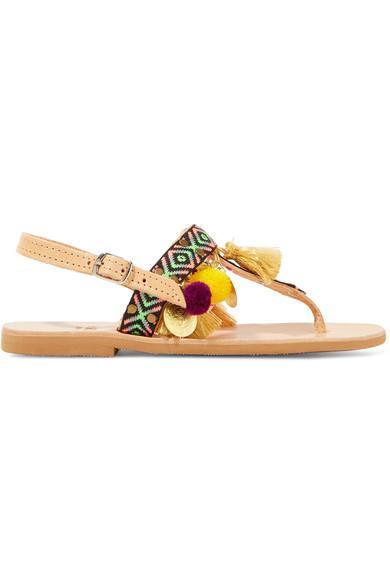 Mabu By Maria Bk Aeesha AppliquÉD Embellished Leather Sandals