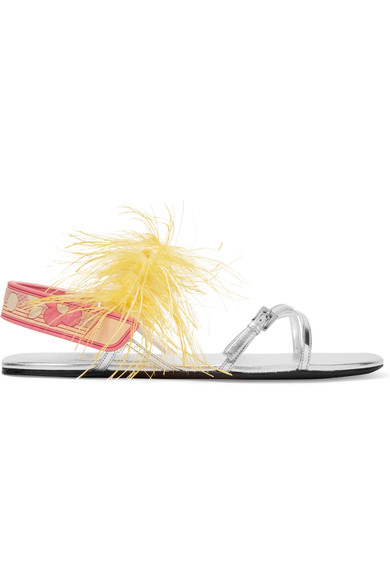Prada Feather-Embellished Metallic Leather Sandals In Silver