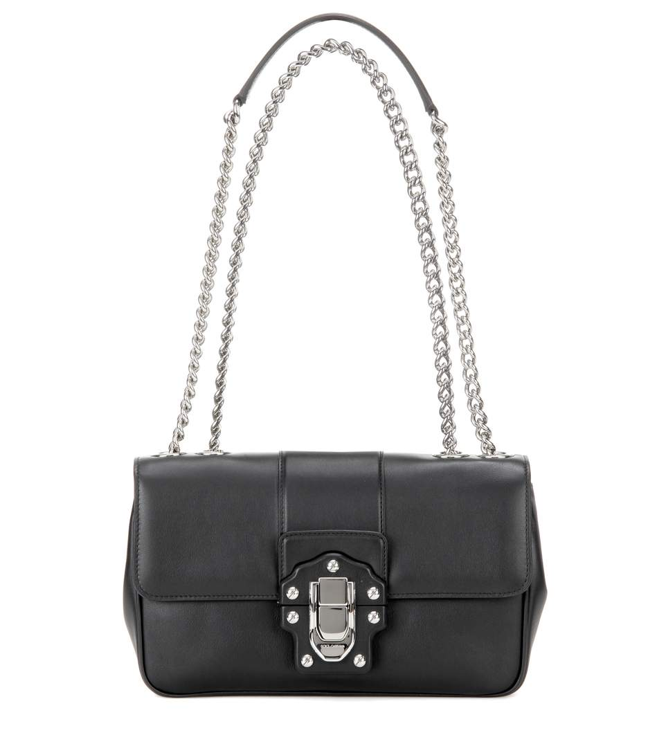 Dolce & Gabbana Lucia Leather Shoulder Bag In Black