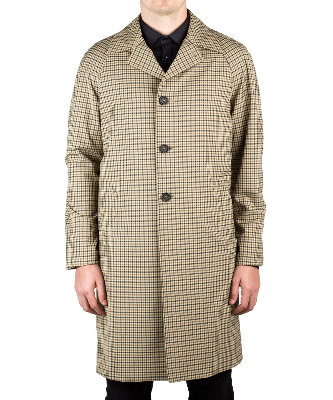 Prada Men's Waterproof Tecno Trench Coat Jacket Checker Camel Olive In Brown
