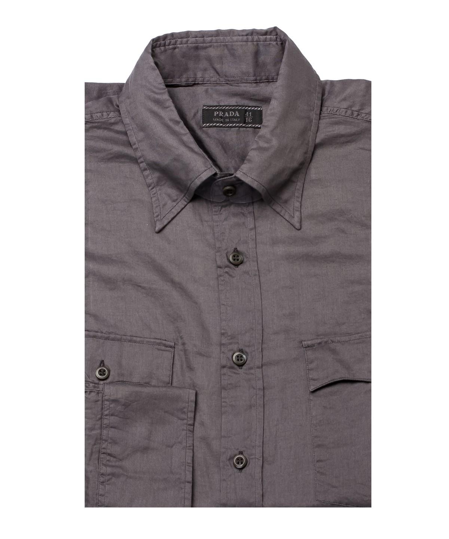 Prada Men's Pointed Collar Cotton Dress Shirt Charcoal In Grey