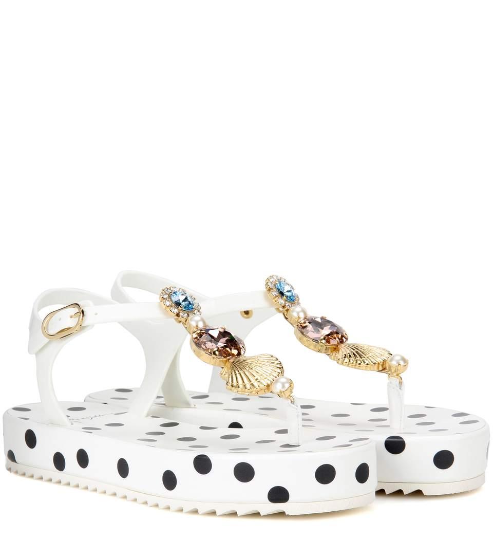 Dolce & Gabbana Platform Sandals With Embellishment In Multicoloured