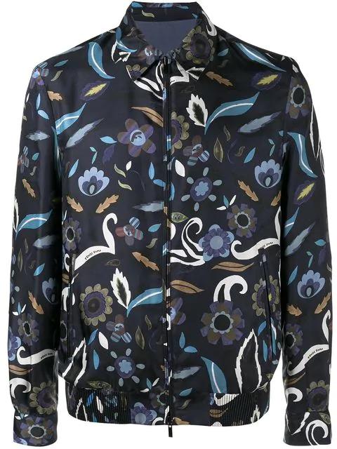 Fendi Reversible Floral Print Jacket In Blue