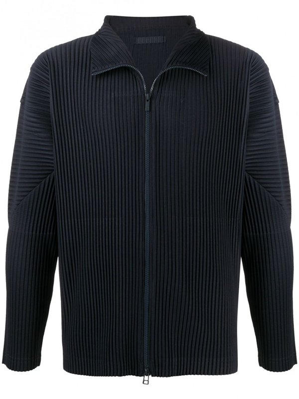 Issey Miyake Zipped Cardigan In Blue
