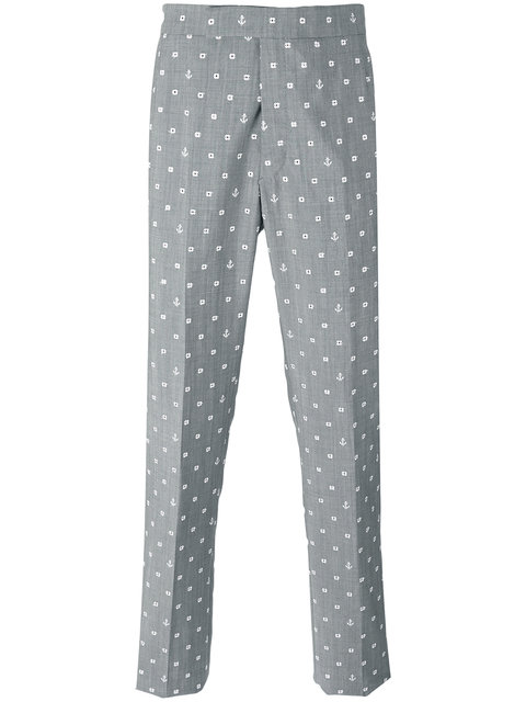 Thom Browne Nautical Embroidery Chinos - Grey