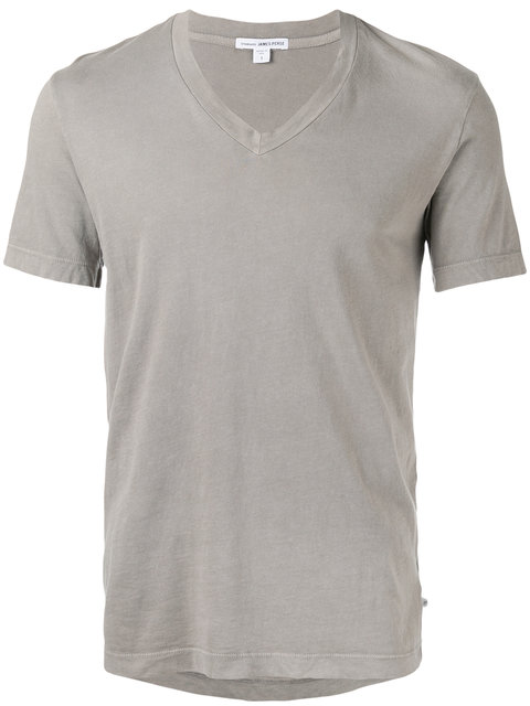 James Perse V-Neck Cotton T-Shirt In Grey
