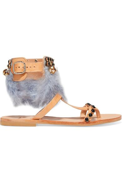 Mabu By Maria Bk Aten Embellished Leather Sandals In Tan/ Blue Feather