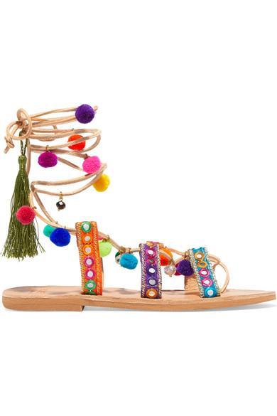 Mabu By Maria Bk Ida Embellished Leather Sandals In Multi Pom