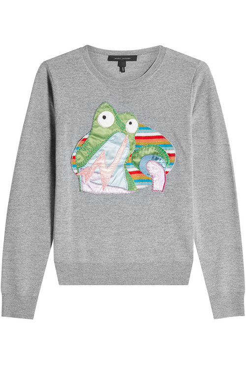 Marc Jacobs Wool Pullover With Motif In Grey