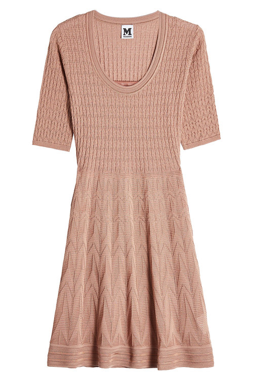 M Missoni Knit Dress With Cotton In Brown