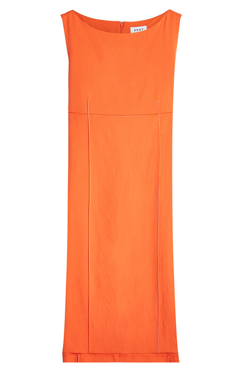 Dkny Shift Dress With High-Low Hemline In Orange