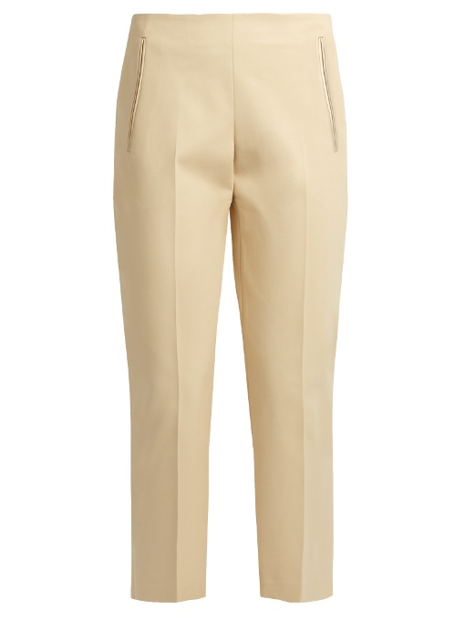 The Row Nowa Stretch-Cotton Cropped Trousers In Light Beige