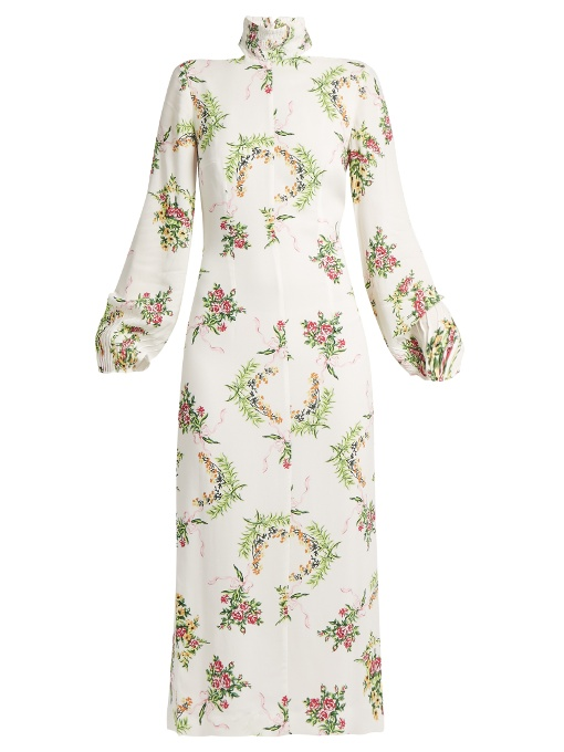 Emilia Wickstead Alison Floral-Print Crepe Turtleneck Dress In White Print
