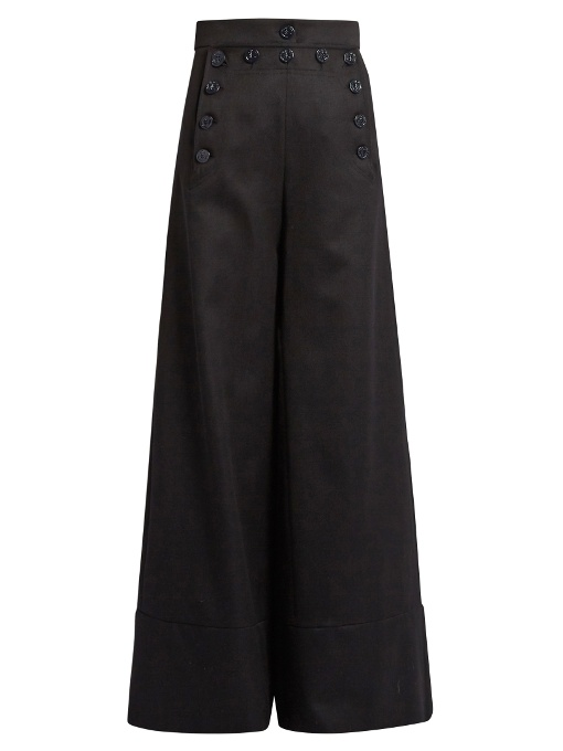 ChloÉ Sailor High-Rise Wide-Leg Wool-Blend Trousers In Navy