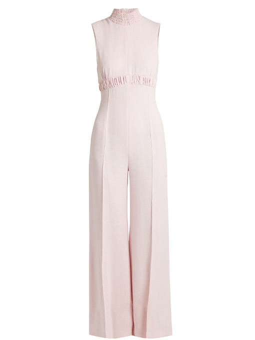 Emilia Wickstead Hulla Ruched Crepe Wide-Leg Jumpsuit In Magenta