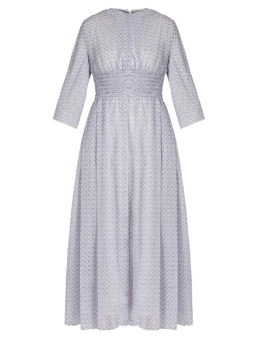 Emilia Wickstead Madeleine Floral-Print Smocked-Waist Dress In Blue Print