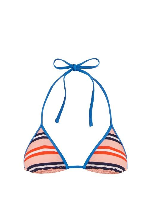 Diane Von Furstenberg Stripe-Print Halterneck Bikini Top In Red Multi
