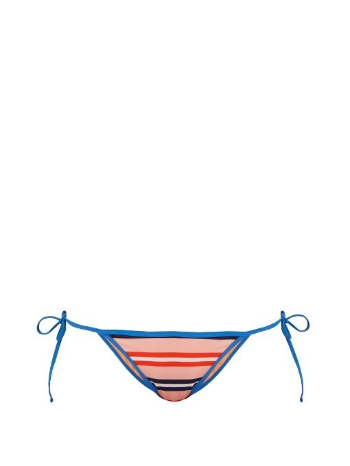 Diane Von Furstenberg Stripe-Print Tie-Side Bikini Briefs In Red Multi