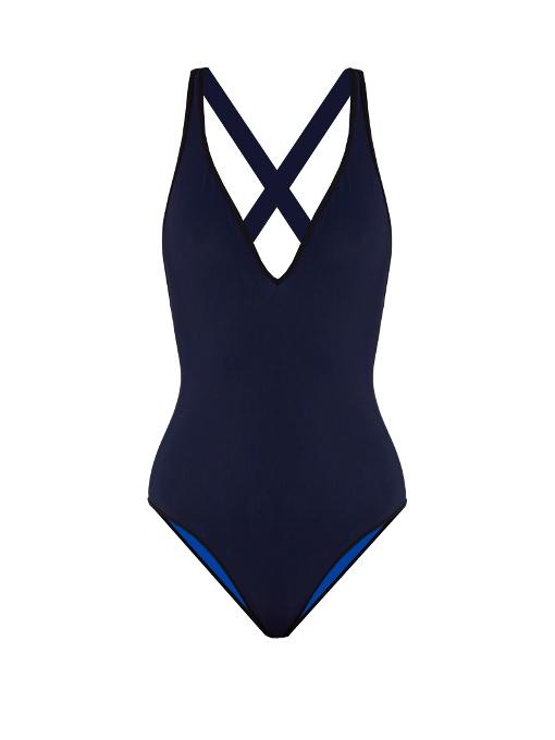Diane Von Furstenberg - V Neck Cross Back Reversible Swimsuit - Womens - Navy
