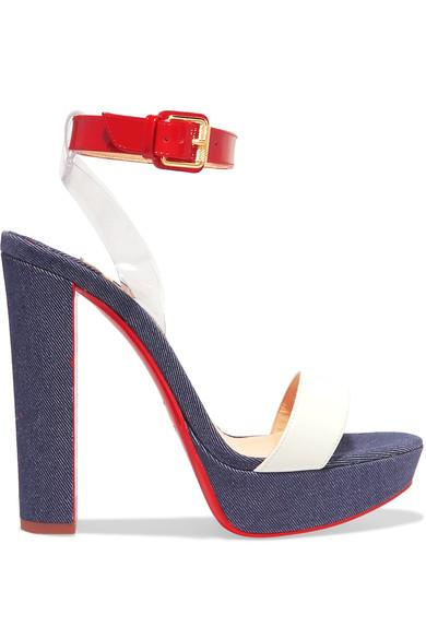 Christian Louboutin Cherry 140 Pvc, Patent And Smooth Leather-Trimmed Denim Sandals In Dark Denim