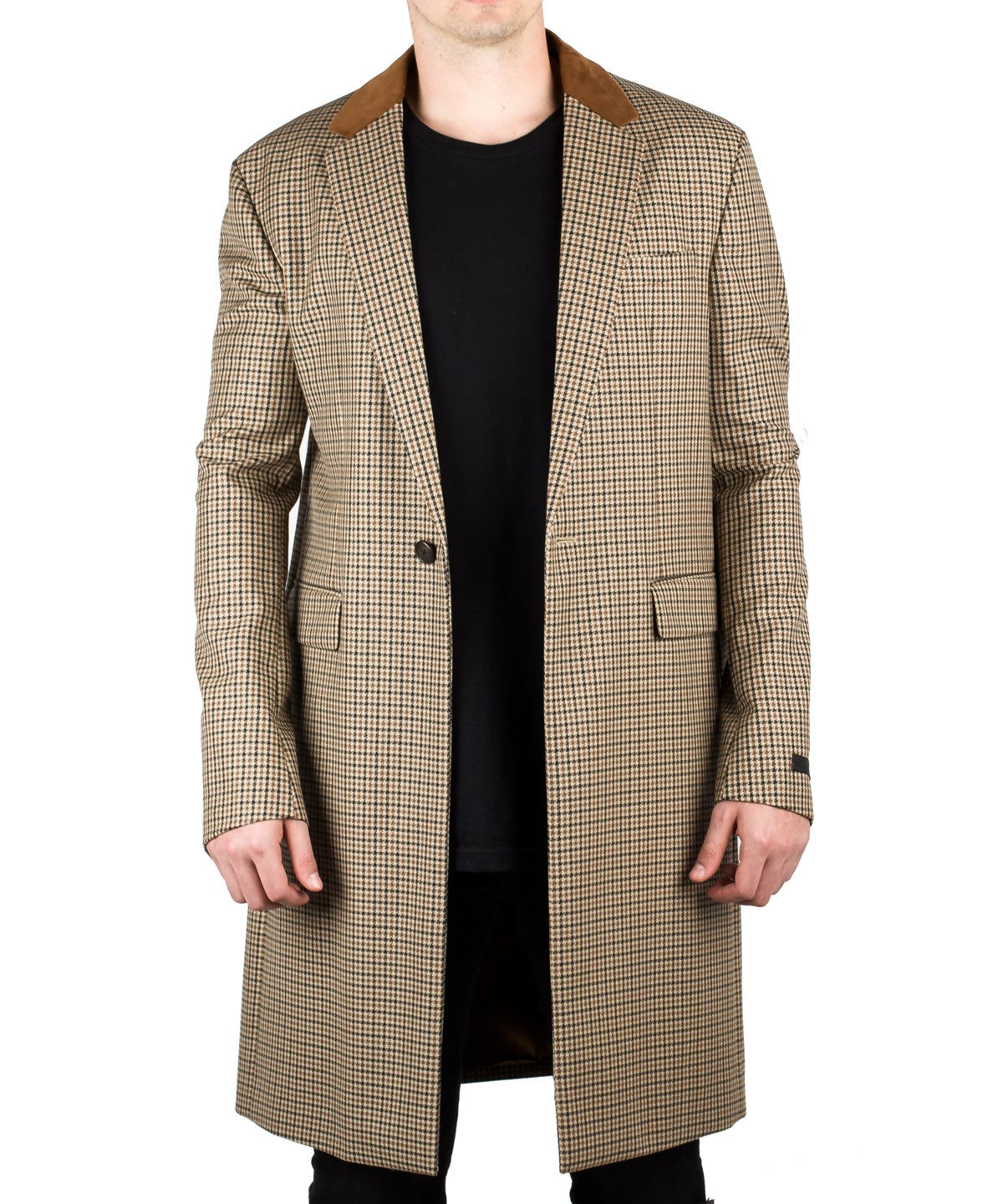 Prada Men's Notched Lapel Trench Coat Jacket Houndstooth Camel Tobacco In Brown