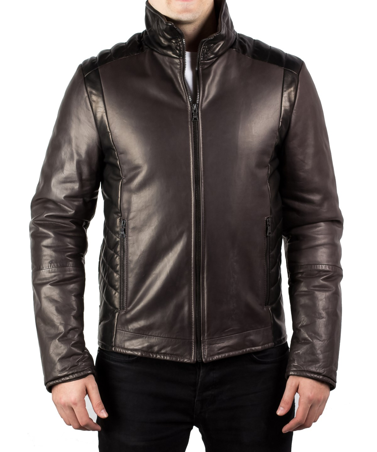 Prada Men's Motorcycle Soft Quilted Leather Zip Jacket Coat Dark Grey Black