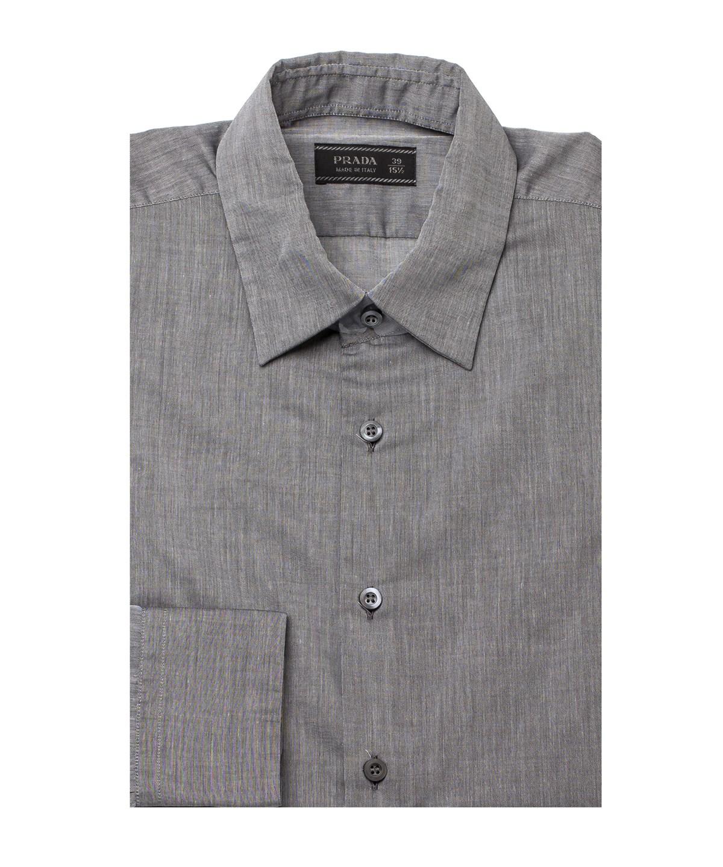 Prada Men's Semi-Spread Collar Cotton Dress Shirt Grey