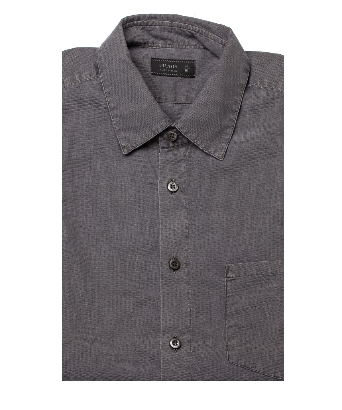 Prada Men's Short Sleeve Semi-Spread Collar Dress Shirt Grey