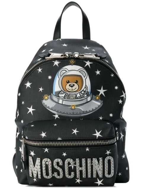 Moschino X Playboy Large Bunny Bear Woven Backpack - Black
