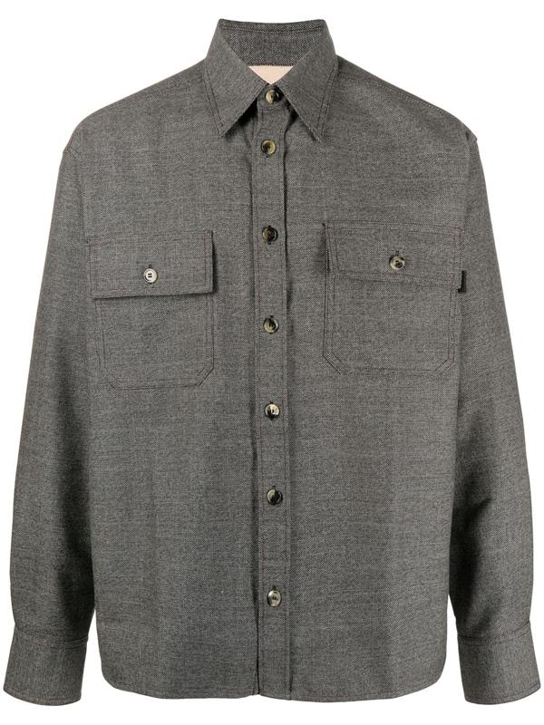 Marni Woven Twill Chore Shirt In Grey