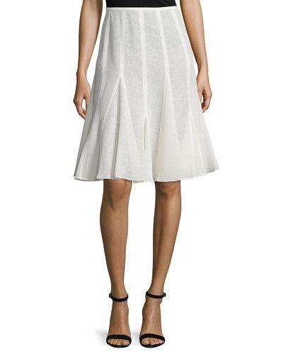 Michael Kors Mid-Rise Linen Flirt Skirt, Ivory