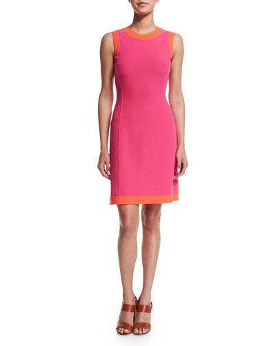 Michael Kors Sleeveless Two-Tone A-Line Dress, Watermelon