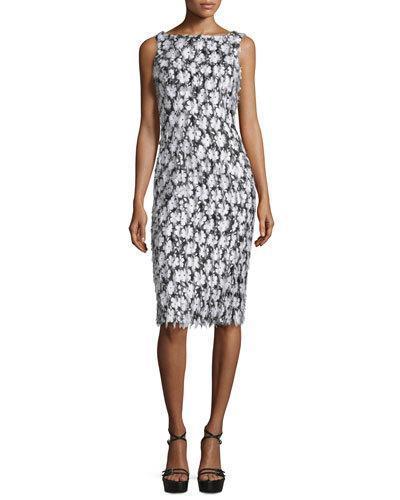 Michael Kors Sleeveless Floral-Embellished Sheath Dress, Black/Optic White