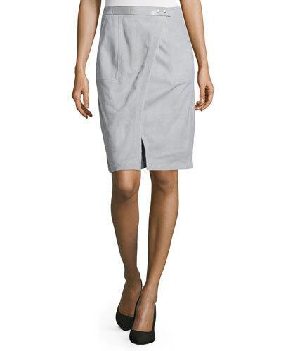 Halston Heritage Suede Wrap Skirt, Mist