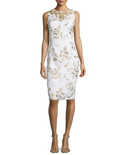 Badgley Mischka Sleeveless Floral-Print Cocktail Dress, Ivory/Gold In Ivorygold