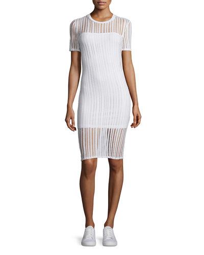 T By Alexander Wang Short-Sleeve Jacquard Sheath Dress, Black, White